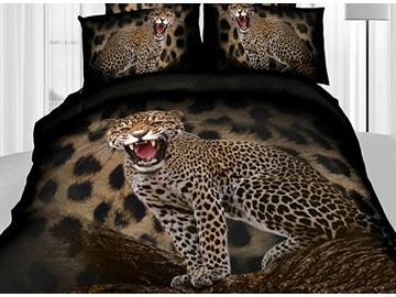 3D Roaring Leopard Printed Cotton 4-Piece Bedding Sets/Duvet Covers