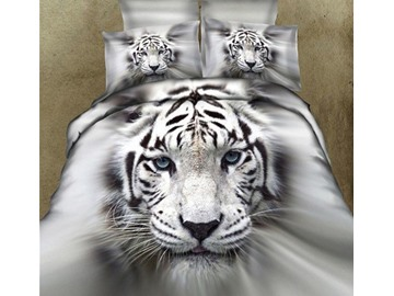New Arrival 100% Cotton Lifelike White Tiger 3D Printed 4 Piece Bedding Sets/Duvet Cover Sets