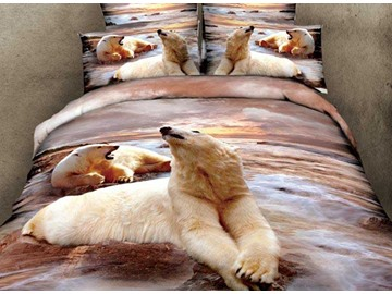 3D Polar Bears Printed Cotton 4-Piece Bedding Sets/Duvet Covers