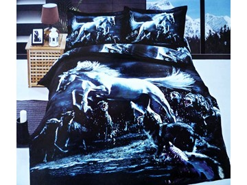 Beautiful Jumping Horse and Wolves Print 4 Piece Bedding Sets
