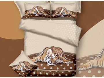3D Sleepy Tiger Printed Cotton 4-Piece Bedding Sets/Duvet Covers