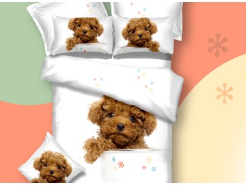 3D Teddy Dog Printed Cotton 4-Piece White Bedding Sets/Duvet Covers