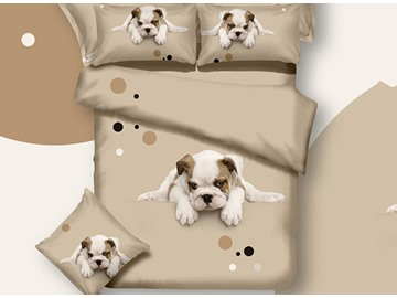 3D Puppy Dog Printed Cotton 4-Piece Bedding Sets/Duvet Covers