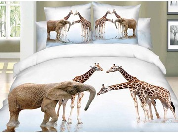 3D Elephant and Giraffe Printed Cotton 4-Piece Bedding Sets/Duvet Covers