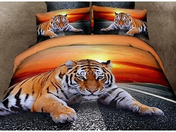 3D Lying Tiger at Dusk Printed Cotton 4-Piece Bedding Sets/Duvet Covers