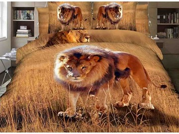 3D Lion on Grassland Printed Cotton 4-Piece Bedding Sets/Duvet Covers