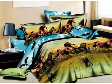 3D Running Horses Printed Cotton Rustic Style 4-Piece Bedding Sets/Duvet Covers