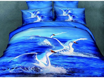 Very Beautiful White Swan Swimming  in Blue Lake Print 4-Piece Cotton Duvet Cover Sets