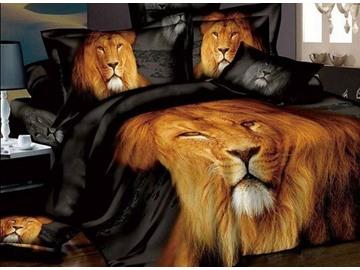 Powerful Lion Printing 4-Piece Cotton Duvet Cover Set