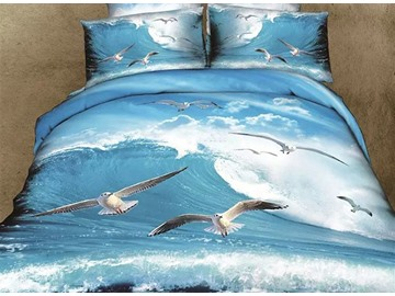 3D Sea Gull Flying over Sea Printed Cotton 4-Piece Full Size Bedding Sets