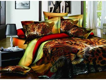 3D Leopard Face Printed Cotton 4-Piece Bedding Sets/Duvet Covers