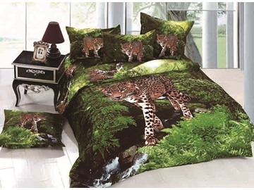 Leopard Wandering in Forest Print 4-Piece Cotton Duvet Cover Sets