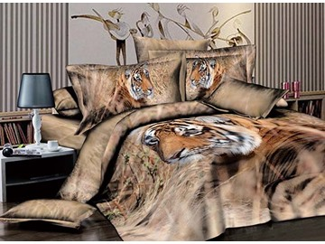 3D Tiger in Grass Printed Cotton 4-Piece Bedding Sets/Duvet Covers