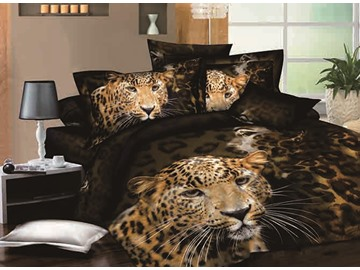 Hot Selling Stylish Leopard Print 4-Piece Cotton Duvet Cover Sets