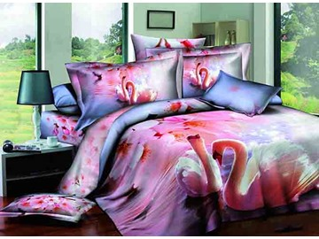 Swimming Couple Swan Pink Peach Blossom Print 4-Piece Cotton Duvet Cover Sets