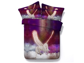 Flying Unicorn Printed Cotton 4-Piece 3D Bedding Sets/Duvet Covers