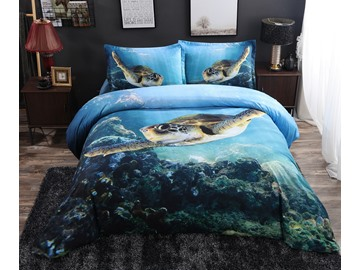 Swimming Turtle Blue Ocean Printed 4-Piece 3D Animal Bedding Sets/Duvet Covers