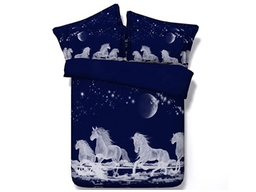 White Horses Digital Printing Dark Blue 4-Piece Duvet Cover Sets