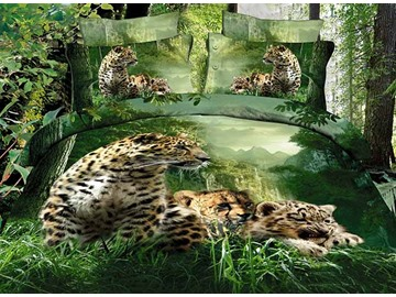3D Leopards in the Forest Printed Cotton 4-Piece Bedding Sets/Duvet Covers