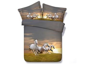 Galloping White Horses Bedding 4-Piece 3D Animal Print Bedding Set / Duvet Cover Set Polyester