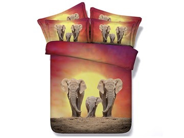Elephant Family Printed Polyester 4-Piece 3D Bedding Sets/Duvet Covers