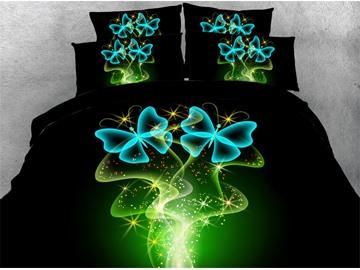 Dreamlike Blue Butterflies Printed 4-Piece 3D Bedding Set/Duvet Cover Set Black
