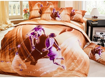 Charming 3D Gemini Printed 4-Piece Cotton Duvet Cover Sets