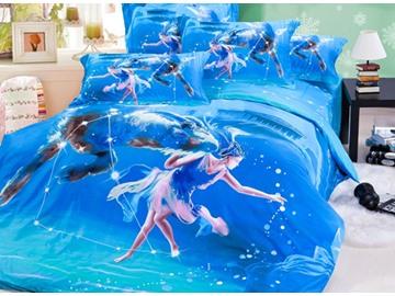 Popular Capricornus 4-Piece 3D Printed Cotton Duvet Cover Sets