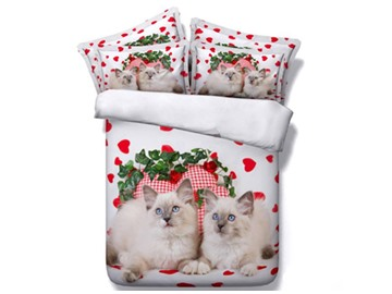 3D Persian Cat and Red Heart Printed Cotton 4-Piece White Bedding Sets