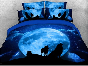 Wolf and Galaxy Printed Polyester 4-Piece 3D Blue Bedding Sets Duvet Covers with Zipper Closure and Corner Ties 1 Duvet Cover 1 Flat Sheet 2 Pillowcases