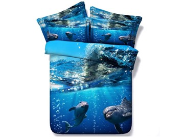 Dolphin under the Sea Printed 4-Piece Blue 3D Bedding Sets/Duvet Covers Polyester