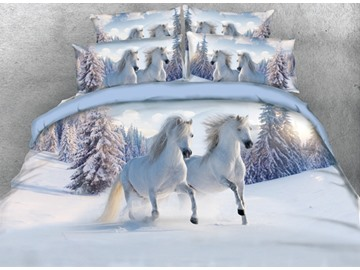 3D White Horses Printed Cotton 4-Piece Bedding Sets/Duvet Covers