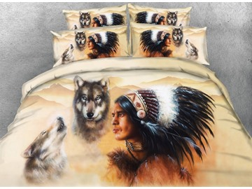 3D Wolf and American Indian Chief Printed 4-Piece Bedding Sets/Duvet Covers