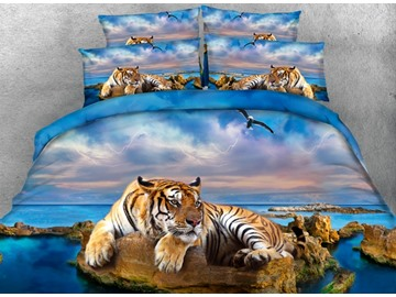 Yellow Tiger and Blue Ocean Print 4-Piece Duvet Cover Sets
