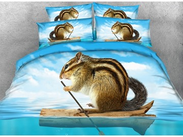 3D Chipmunk in Canoe Printed Cotton 4-Piece Blue Bedding Sets/Duvet Covers