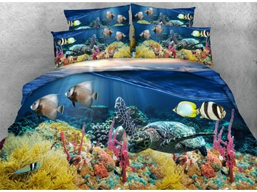 Sea Turtle Printed 4-Piece 3D Blue Bedding Sets/Duvet Covers Polyester