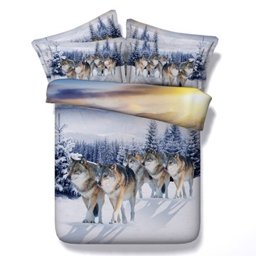 Snow Wolf Printed Polyester 4-Piece 3D Bedding Sets/Duvet Covers
