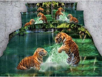 Two Tigers Playing in Water Printed 4-Piece 3D Bedding Sets/Duvet Covers