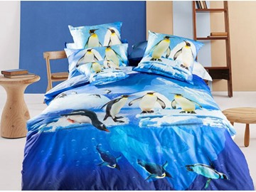 3D Chinstrap Penguin Printed Cotton 4-Piece Bedding Sets/Duvet Covers