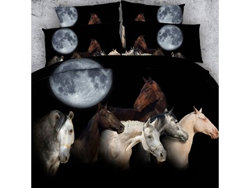 3D Horse under the Moon Printed Cotton 4-Piece Black Bedding Sets/Duvet Covers