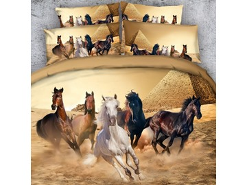 3D Running Horses and the Pyramid Printed 4-Piece Bedding Sets/Duvet Covers