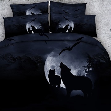 3D Wolf Howling at the Moon Printed Cotton 4-Piece Black Bedding Sets