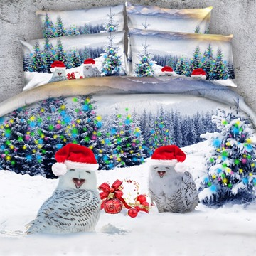 3D Owls with Christmas Caps Printed Cotton 4-Piece Bedding Sets/Duvet Covers