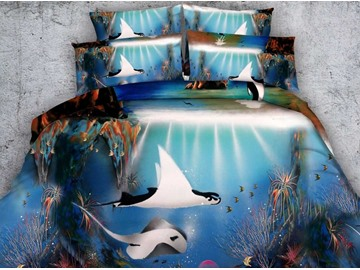 Stunning 3D Tropical Fish Printed 4-Piece Duvet Cover Sets