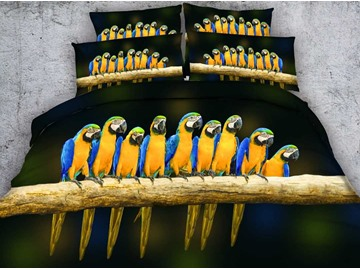 3D Parrots on a Branch Printed Cotton 4-Piece Bedding Sets/Duvet Covers
