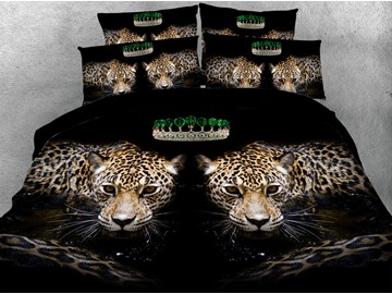 Symmetric Leopards 3D Digital Printing 4-Piece Bedding Sets