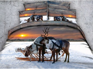 3D Reindeer in the Winter Sunset Printed Cotton 4-Piece Bedding Sets/Duvet Covers