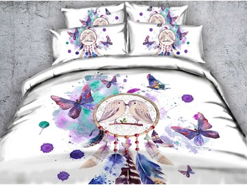 Dream Catcher and Butterfly Printed Polyester 3D 4-Piece White Bedding Sets/Duvet Covers