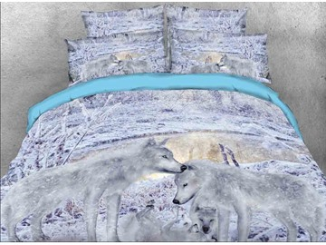 Vivilinen 3D Snow Wolf Family Printed Cotton 4-Piece Bedding Sets/Duvet Covers