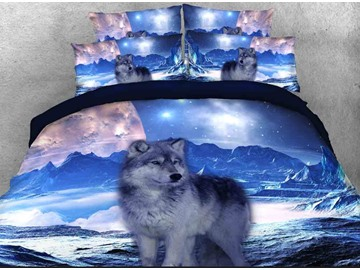 Onlwe 3D Mountain Wolf Printed Cotton 4-Piece Bedding Sets/Duvet Covers